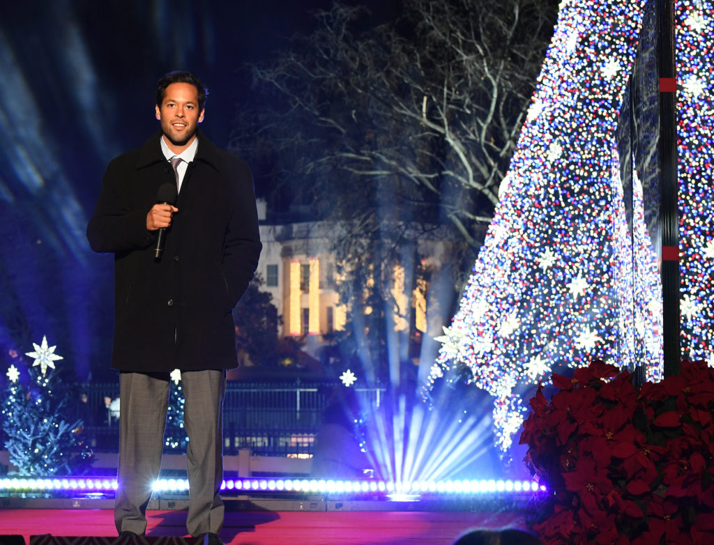 Dylan Carrejo, an AmeriCorps alum from Texas Conservation Corps, introduces President Obama at the 2016 National Christmas Tree Lighting